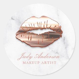 Sticker Rond Maquilleur rose de regard de marbre de lèvres de