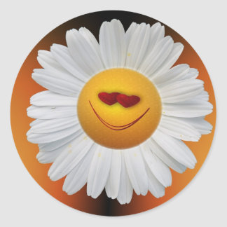 Sticker Rond Marguerite souriante de visage