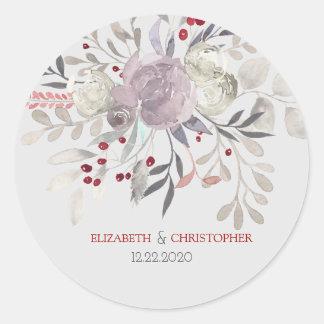 Sticker Rond Mariage botanique d'aquarelle florale vintage
