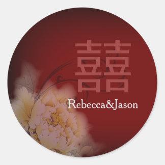 Sticker Rond mariage chinois floral de pivoine vintage de