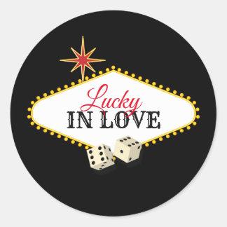 Sticker Rond Mariage de chapiteau de Las Vegas dans le noir