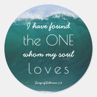 Sticker Rond Mariage de plage chrétien de ressacs mes amours
