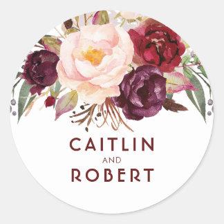 Sticker Rond Mariage élégant floral de Bourgogne