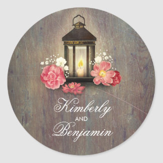 Sticker Rond Mariage en bois rustique de grange de lanterne