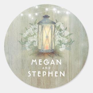 Sticker Rond Mariage en bois rustique de lanterne et de souffle
