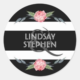 Sticker Rond Mariage floral de rayures noires et blanches