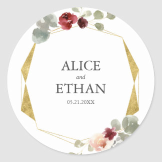 Sticker Rond Mariage géométrique floral de Bourgogne et de