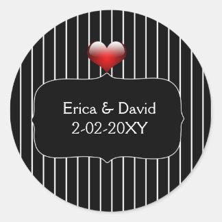 Sticker Rond Mariage moderne de rayures noires et blanches