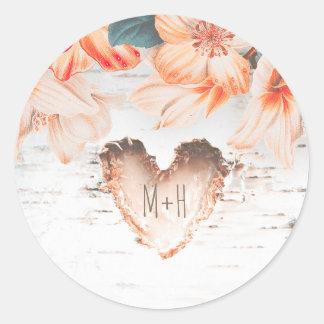 Sticker Rond Mariage rustique de fleurs de coeur et d'orange