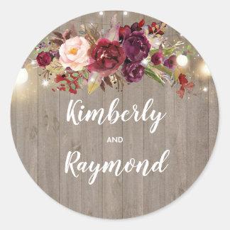 Sticker Rond Mariage rustique floral de Bourgogne