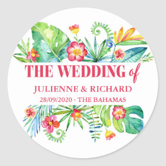 Sticker Rond Mariage tropical de destination