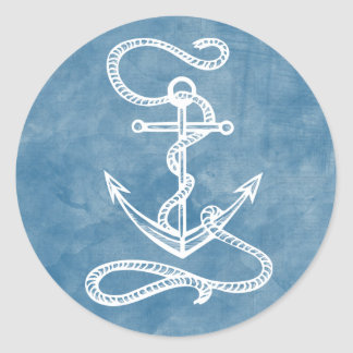 Sticker Rond Marin bleu d'océan de bateau d'aquarelle nautique