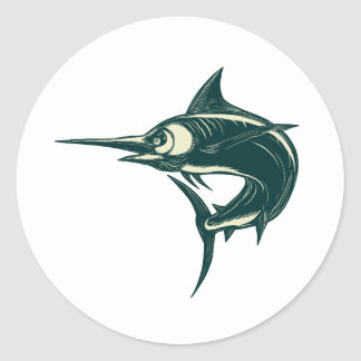 Sticker Rond Marlin bleu atlantique Scraperboard