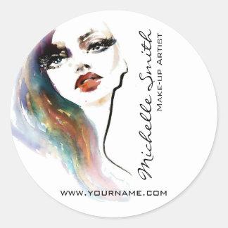 Sticker Rond Marquage à chaud coloré de maquillage de femme