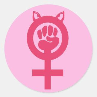 Sticker Rond Mars de poing de rose de chat des femmes