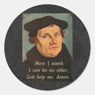 Sticker Rond Martin Luther ici je tiens la citation