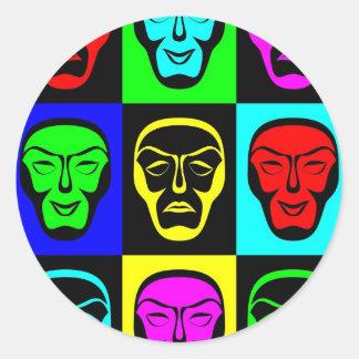 Sticker Rond Masques de Theatrical de comédie et de tragédie
