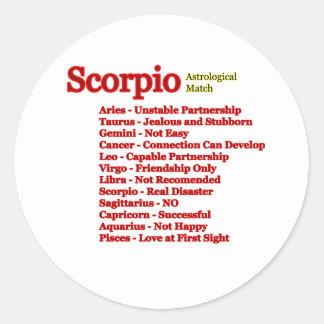 Sticker Rond Match astrologique de Scorpion les cadeaux de