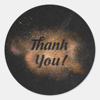 Sticker Rond Merci - arrière - plan noir