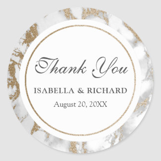 Sticker Rond Merci chic moderne de marbre de scintillement d'or