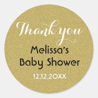 Sticker Rond Merci de baby shower de parties scintillantes d'or