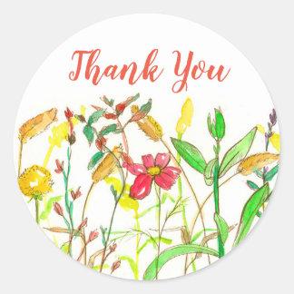 Sticker Rond Merci de fleurs sauvages d'aquarelle d'automne