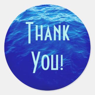 Sticker Rond Merci de l'eau bleue