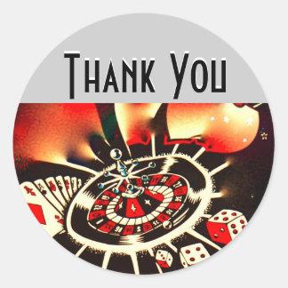 Sticker Rond Merci de nuit de casino