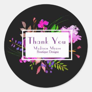 Sticker Rond Merci de Purple Floral Watercolor Bouquet Company