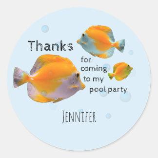 Sticker Rond Merci de réception au bord de la piscine de