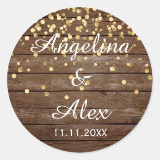 Sticker Rond Merci en bois rustique de mariage de confettis