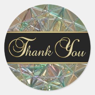 Sticker Rond Merci en verre métallique de couleur noire