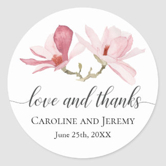Sticker Rond Merci floral d'aquarelle rose de magnolia