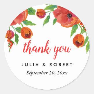 Sticker Rond Merci floral de mariage de pivoines rouges