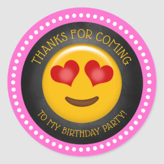 Sticker Rond Merci Girly mignon d'anniversaire d'Emoji