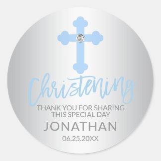 Sticker Rond Merci moderne de garçon de baptême de croix de