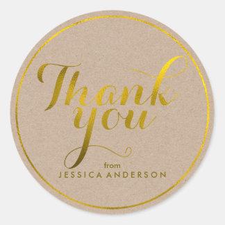 Sticker Rond Merci personnalisé par feuille d'or de Faux