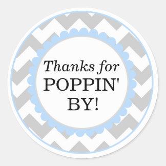 Sticker Rond Merci pour Poppin par, baby shower d'impression de