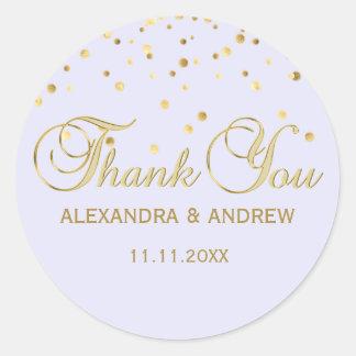 Sticker Rond Merci violet de mariage d'or de lavande élégante