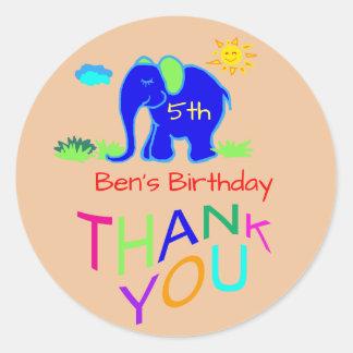 Sticker Rond Mercis d'anniversaire du nom et de l'âge de