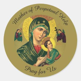 Sticker Rond Mère d'aide perpétuelle avec le bébé Jésus