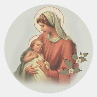 Sticker Rond Mère Mary de Vierge et bébé Jésus