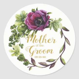 Sticker Rond Mère pourpre de guirlande de pivoine du marié