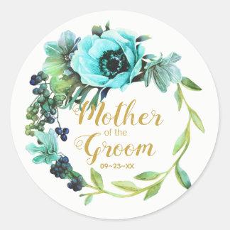 Sticker Rond Mère turquoise de guirlande de pivoine du marié