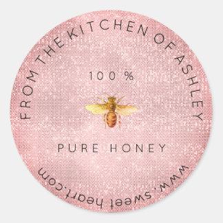 Sticker Rond Miel fait maison de 100 % du rose de cuisine