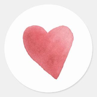 Sticker Rond Minimaliste rouge de coeur d'aquarelle mignonne