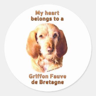 Sticker Rond Mon coeur appartient à un griffon Fauve de la