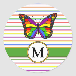 Sticker Rond Monogramme chic de coutume de filet de papillon