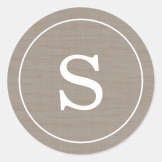 Sticker Rond Monogramme de toile de jute
