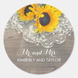 Sticker Rond Monogramme en bois rustique de mariage de dentelle